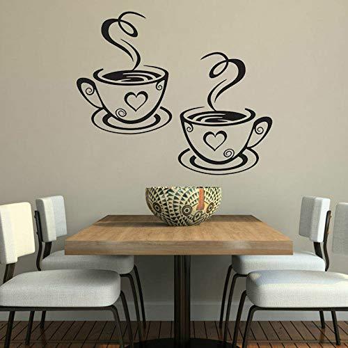 WSLIUXU Kaffeetasse Cafe Tee Wandaufkleber Kunst Vinyl Aufkleber Leben Küche Restaurant Bar Wandaufkleber Wanddekoration Muster Abnehmbare Hausgarten Wandaufkleber Dunkelgrau 28 35x42 cm -