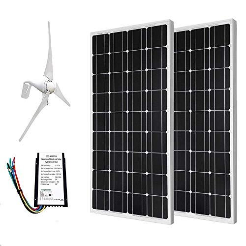 eco-worthy 24Volt 600Watt Wind Solar System: 12V/24V 400W Windkraftanlage + 212V 100W Monokristallines Solar-Panel + 24cm Kabel mit MC4Stecker (400 Solar-panels Watt Mit)