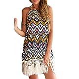 Frauen Mode ärmellos Rückenfrei Trägerlos Print Gemustert Ethno Fransen Beachwear Minikleid Neckholderkleider Kleid Freizeitkleider (L)