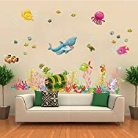 Cartoon Diy Wall Stickers Underwater World Sea Various Shark Fish Ocean Art Kids Child Room Decal