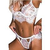 Eleery Damen Dessous Set Erotik Spitze BH Unterwäsche Lace Bikini (EU38-40, Weiß)