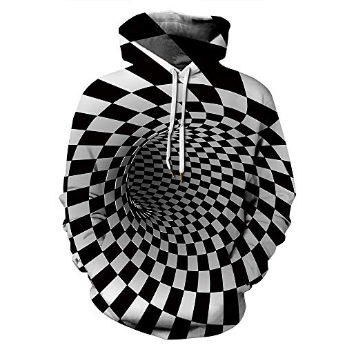 HA73 Fun-Kapuzenpullover Langarm Hoodies 3D Visual Illusion Print Pullover Sweatshirts Casual Style Atmungsaktiv & Bequem für Paare Cosplay,Square,XXL/XXXL