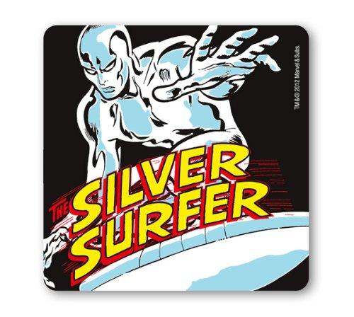(Untersetzer Silver Surfer - Marvel Comics – schwarz - Bierdeckel - Lizenziertes Originaldesign - LOGOSHIRT)