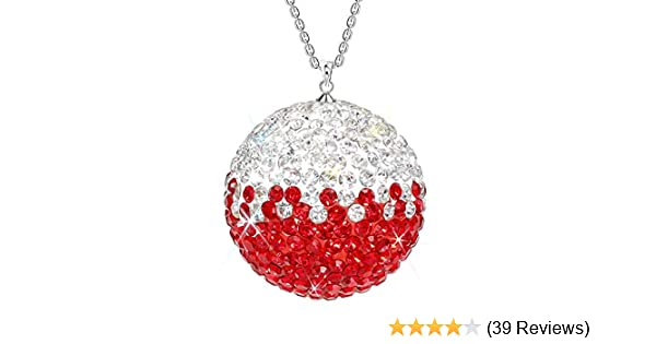 SAVORI Car Rear View Mirror Ornament Hanging Lucky Ball Christmas Crystal Pendant Bling Car Accessories for Women Rhinestone Charm Auto Decoration Black White