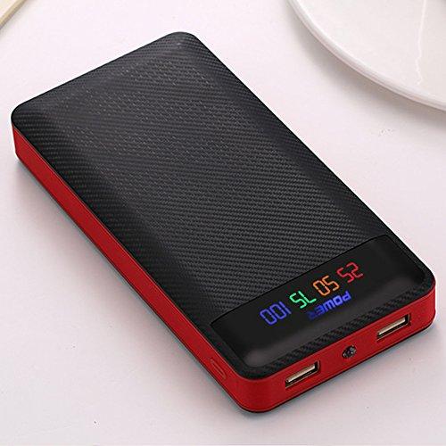 Cewaal 10400mAh 2 Port Power Bank 4x18650 Batterie (PAS IN) Chargeur Boîte LED Affichage Numérique pour iPhone X Tablette Mp3 Red
