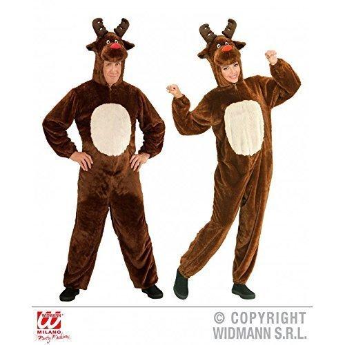 Overall Rentier / plüschiger Jumpsuit mit Kapuze Gr. XL ( H 190 cm ) / Erwachsenenkostüm / Tierkostüm / (Rentier Weihnachtsmann Einem Der Kostüme Erwachsenen Auf)