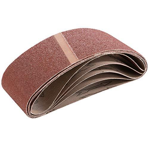 Arebos Schleifband 75 x 457 mm/Körnung 40, 60, 80, 100, 120, 150, 180, 240, 320 oder 400/5, 10, 20 oder 50 Stück (20, K80) -