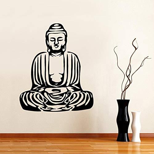 Buddha Yoga Decalcomania Grafica Rimovibile Adesivi murali per Soggiorno Arte Meditazione Namaste Vinile Decalcomanie Camera da Letto Adesivo Rosso 57X65cm