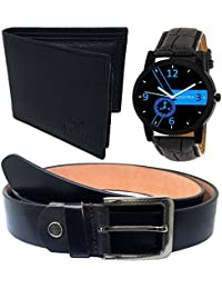 XPRA Analog Watch, Black Genuine Leather Belt & Black Leather Wallet for Men/Boys Combo (Pack of 3) - (WL-3CMB-23)