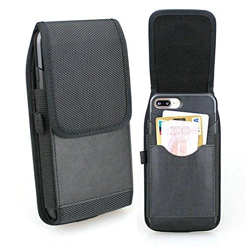 aubaddy Vertikal Nylon Hülle Case Gürtel Gürteltasche für iPhone XS Max, iPhone 8 Plus, Huawei P20 Pro - Passt mit TPU Hülle oder Dünnes Case (Schwarz)