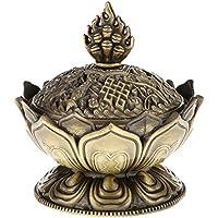 SODIAL Lotus humo del incienso del cono del aroma del quemador titular Estufa de Reflujo incensario Decor-Bronce