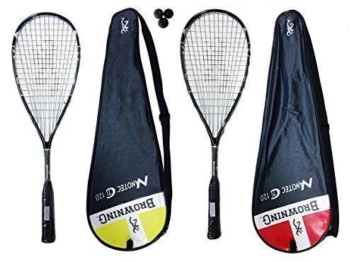 Browning Nanotec Ti 120 - Set di 2 racchette da Squash, incluse 3 palline Dunlop