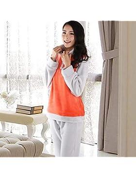 GZZ Inicio Hotel Albornoz Pareja de Robe Manga de Terciopelo Coral Franela de Manga Larga Conjunto de Pijamas...