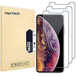 MaxTeck [3 Pack] Screen Protector for iPhone XS X, 0.26mm 9H Tempered Glass Screen Protector Anti-Shatter Film for iPhone XS (2018)/iPhone X (2017) 5.8 Inch [3D Touch Compatible]