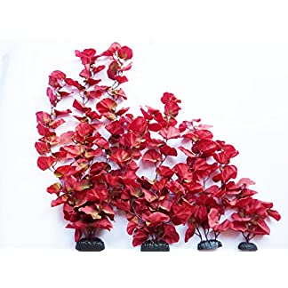 Aquarium Plants (Silk) Red Lily Fish Tank Decoration (Full Set Of 4) 9