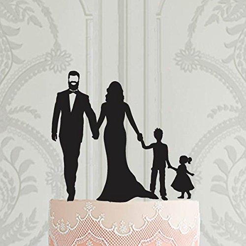 Hochzeitstortenaufsatz mit 2 Kindern – Ein Mädchen und ein Junge, personalisierter Tortenaufsatz, Gold, Silber, Hochzeits-Dekoration, Ideen, Braut-Party-Geschenk