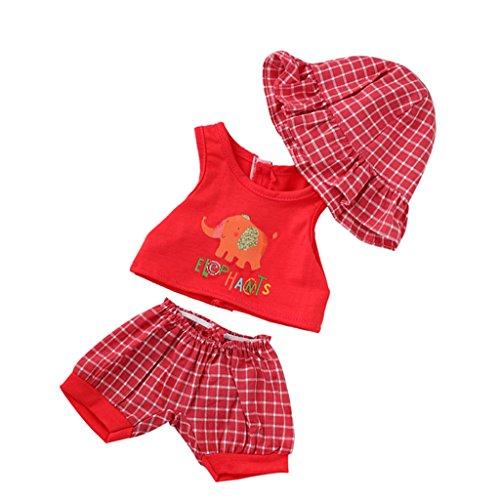 Sharplace 3pcs Schöne Puppen Kleidung Set, Elefant Bedrucktes Underwaist Top, Karierte Hosen, Hut, Freizeitkleidung Anzug für 18 Zoll American Girl Puppen