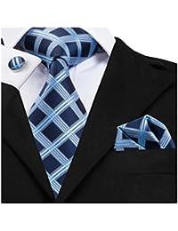 DiBanGu pour homme Cravate en soie à rayures Cravate Mouchoir tissé Plaid  Cravate Pochette carrée Boutons cf29e74716e