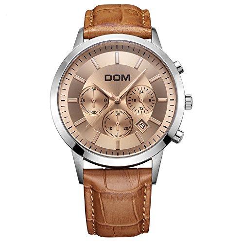 Quadrante grande multifunzionale Sheli orologio da uomo sport impermeabile cinturino in vera pelle marrone ,40.5