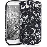 kwmobile ÉTUI EN TPU silicone pour Samsung Galaxy S3 / S3 Neo Design tapisserie de fleurs blanc noir. Étui design très stylé en TPU souple de qualité supérieure