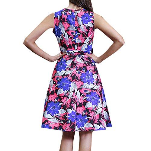 MNBS Femme Robes Vintage Classique 1950S Style Ourlet Imprimer Fleur Cou Rose