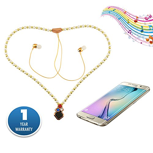 ACID-EYE-Bluetooth-Necklace-Headset-for-Women-Teen-Girls-Hands-Free-Wireless-Headset-Woven-White-Pearls-with-Tassels-Necklace-Ear-Buds-with-mic-and-highest-bass-ever