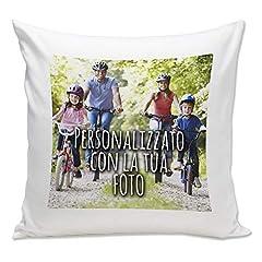 Idea Regalo - Cuscino Personalizzato con Foto - Bianco, 40x40 cm - con Imbottitura