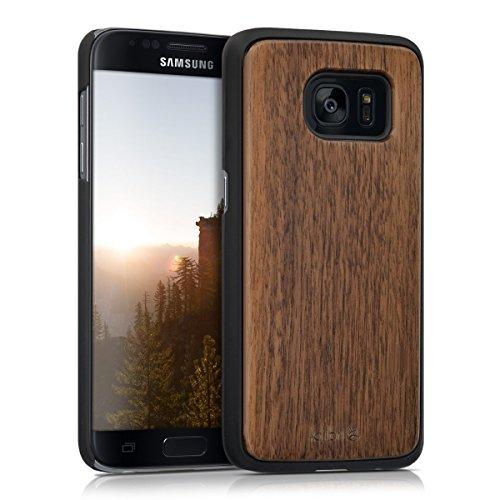 Kalibri cover in legno per samsung galaxy s7 - custodia in legno premium per cellulare case con parte in plastica marrone scuro