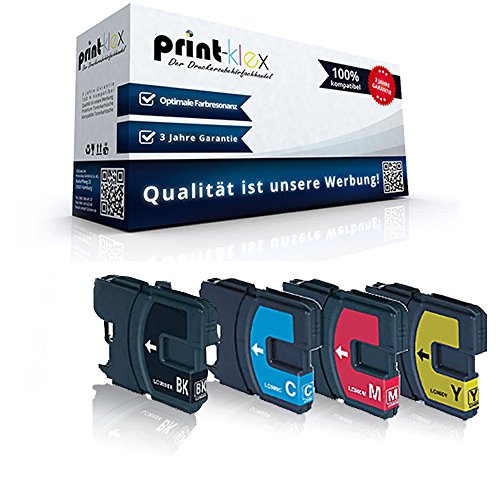 1100 Cyan Toner-kassette (4x Kompatible Reinigungspatronen für Brother MFC 290 Series 295 CN 297 C LC 980 LC 1100 LC-980 LC-1100 LC980 LC1100 Schwarz Blau Rot Gelb - Color Line Serie)