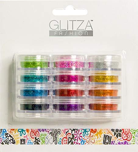 Knorrtoys GL7995 GLITZA Fashion Set - 12 Glitzerpuderdöschen in verschiedenen tollen Farben, 1er Pack (1 x 12 Stück)