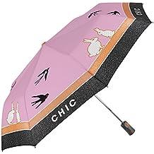 Paraguas plegable de mujer- Práctico para el bolso o la mochila - Paraguas mini antiviento, pequeño, ligero y resistente con estampado conejitos y golondrinas - Automatico - Perletti Chic