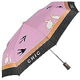 Damen Mini Regenschirm mit automatischer Öffnung - Praktisch für die Tasche oder den Rucksack - windfester Kleiner Leichter Robuster Schirm mit Kaninchen und Schwalben Eindruck - Perletti Chic (Pink)