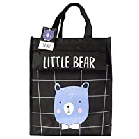 Payonr Large Capacity Foldable Tote Bag Bear Printed Student Tutor Bag Boys and Girls Children
