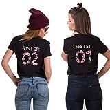 Best Friends T-Shirts für 2 Mädchen Sister Aufdruck – Sommer Oberteile Set für Zwei Damen Freunde T Shirts BFF Geburtstagsgeschenk (Schwarz, Sister 01-L + Sister 02-L)