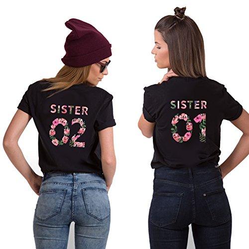 Best Friends T-Shirts für 2 Mädchen Sister Aufdruck - Sommer Oberteile Set für Zwei Damen Freunde T Shirts BFF Geburtstagsgeschenk (Schwarz, Sister 01-L + Sister 02-M)