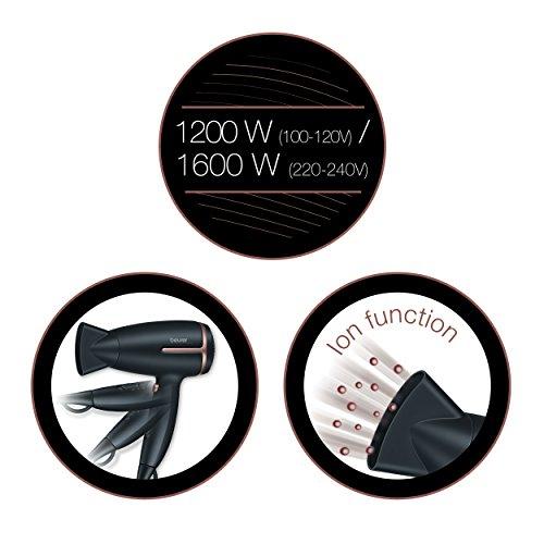Beurer HC 25 Reisehaartrockner mit Ionenfunktion, 1600 Watt, schwarz/rosé - 7