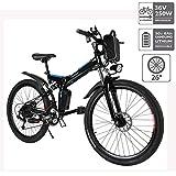 cooshional Bicicleta Eléctrica Plegable de Montaña con la Batería de Iones de Litio 36V Ruedas de 26 Pulgadas Color Blanco...