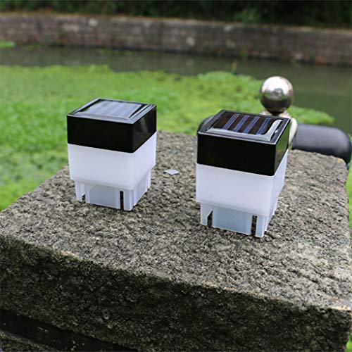 bloatboy 2pc Solarbetriebene Garten Lampe, LED Square Zaun Licht Outdoor Garten Decor Post Deck Lampe (Gelb)