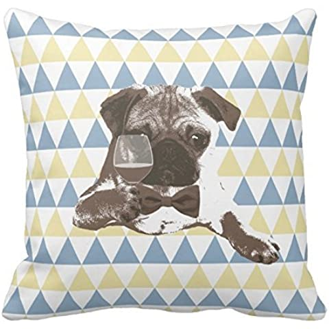 Cheers Pug with a glass of wine Triangle Patterns pillowcustomized Square Custom Throw Pillow Case Cushion Cover Funda de almohada Pillow Cover 18x 18