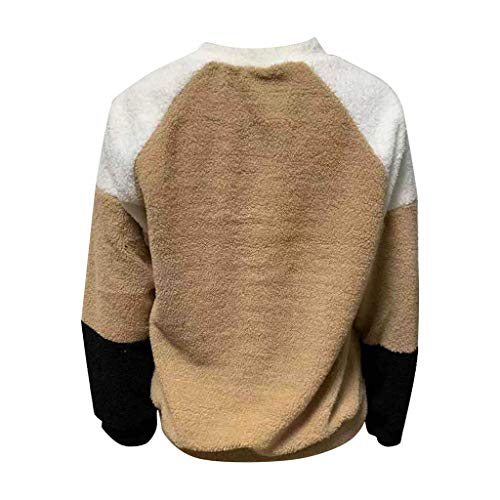 Artistic9 Damen Triple Color Fuzzy Fleece Pullover Pullover Langarm Rundhals T-Shirt Patchwork Flauschige lose Bequeme Sweatshirt Tunika Tops Warme Bluse -