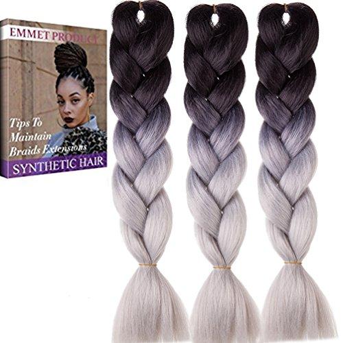 Jumbo Braid (Jumbo Braids-Premium Qualität 100% Kanekalon Braiding Haarverlängerung Full Bundles 100g / pc Synthetik Haar Ombre 24Inch 3Pcs / lot Hitzebeständig)