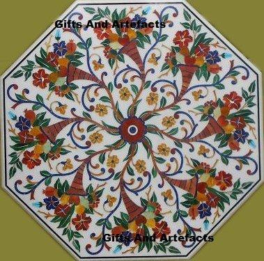 152,4cm weiß Marmor Multi Farbe Stein eingelegten Muster, Konferenz Tisch Top Achteckiger Form