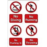 Piscina muestra: No buceo, no en marcha, no en de empuje, no tirar A5tamaño