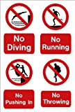 Swimming pool sign: No Diving, No running, No Pushing In, No Throwing A5 size on Vinyl