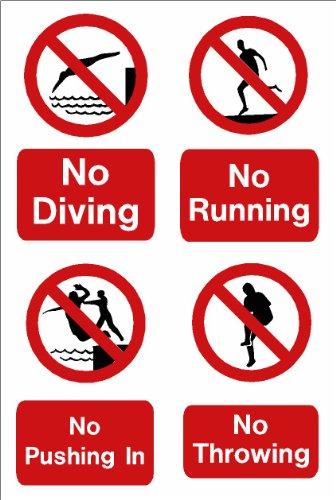 Schwimmbad Schild: kein Tauchen, kein Verlaufen, kein Drücken, kein Werfen A5Größe