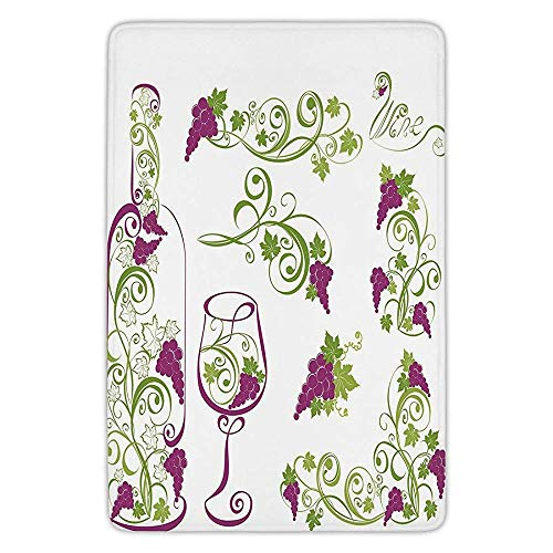 Bathroom Bath Rug Kitchen Floor Mat Carpet,Wine,Wine Bottle and Glass Grapevines Lettering with Swirled Branches Lines Decorative,Purple Lime Green White,Flannel Microfiber Non-slip Soft Absorbent Tan Grapevine