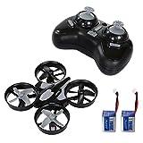 SGILE Mini Drone 2 Baterías Quadcopter RC 2.4G 4CH 6Axis girocompás sin cabeza modo una tecla de retorno RC Quadcopter Gris