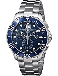 Tag Heuer Aquaracer Grande Date Men's Quartz Watch with Blue Dial Chronograph Display and Silver Stainless Steel Bracelet CAN1011.BA0821