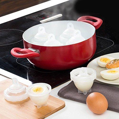 Shop Story–Conjunto de 6Cocedora de Huevos duros sin cáscara de silicona Eggies para una fácil de horno + 1divisor de amarillas de huevos