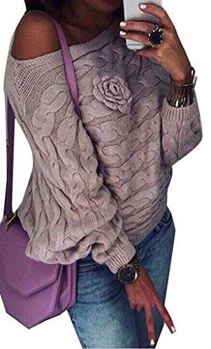 OMUUTR Damen Frauen Winter/Herbst Strickpulli Pullover Stricken Schulterfrei Bat Ärmel Grob Strick Let slip Weit Geschnitten Stricken Sweater Jumper Tops S/M/L 36/38/40